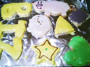 B-I-Z cookies and a pig cookie that looks just like the pig cookie from the summer and a cookie Life Tree