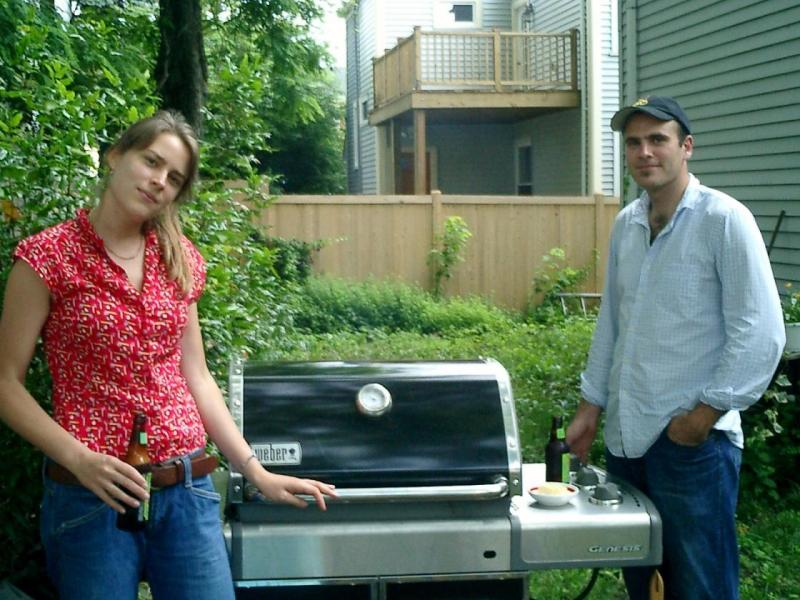 Megan and Justin with the grill