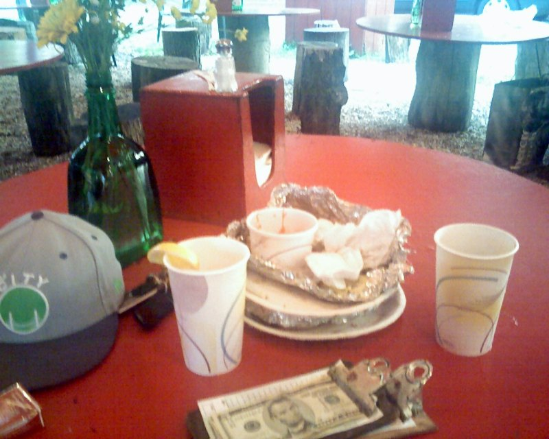 The table after we ate at the Place, an outdoor restaurant in Guilford, CT famous for their grilling