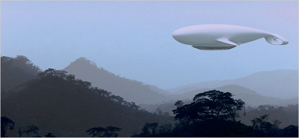 This is an artistic construction of what the Manned Cloud blimp hotel would look like