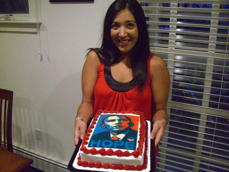 Christina and her Obama cake we ate the Hope part the rest is frozen for Election Day