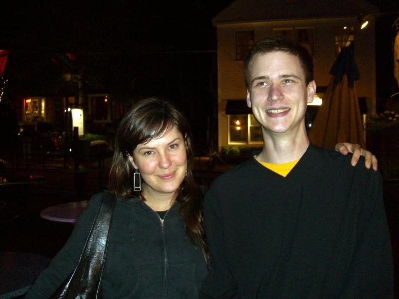 Genevieve and 3rdarm outside Bubalas in Ptown