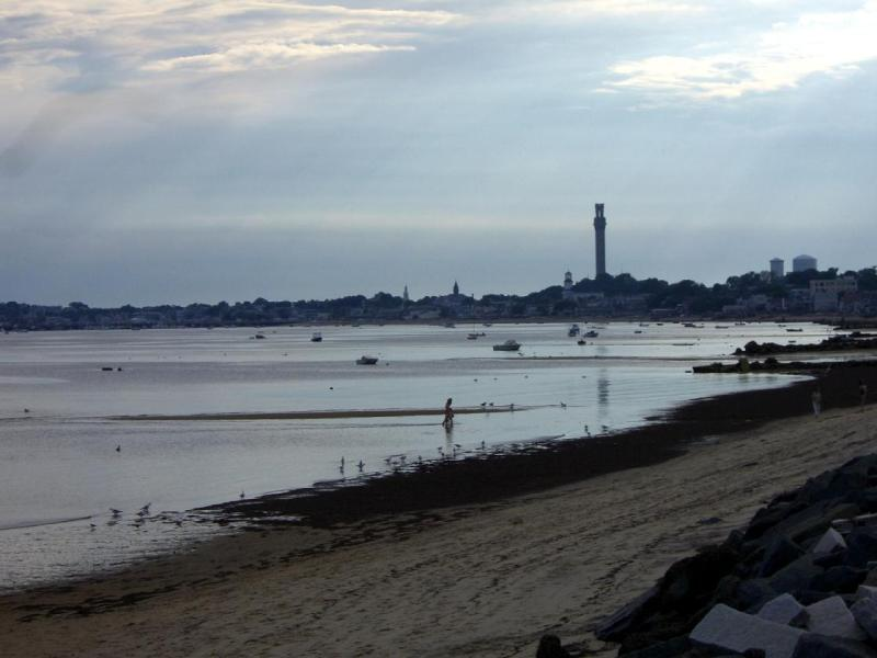 Provincetown in late summer twilight from Route 6A