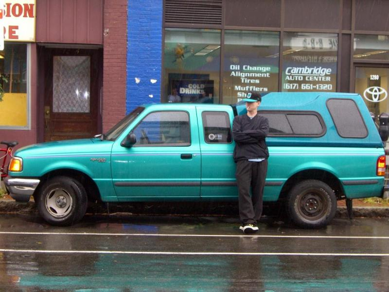 Turquoise pickup truck matched my hat Sunday morning