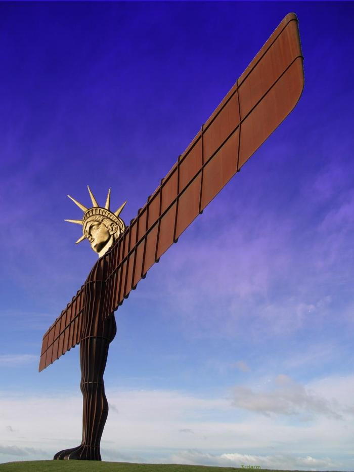 The wingspan of the Angel of the North is wider than the Statue of Liberty is tall