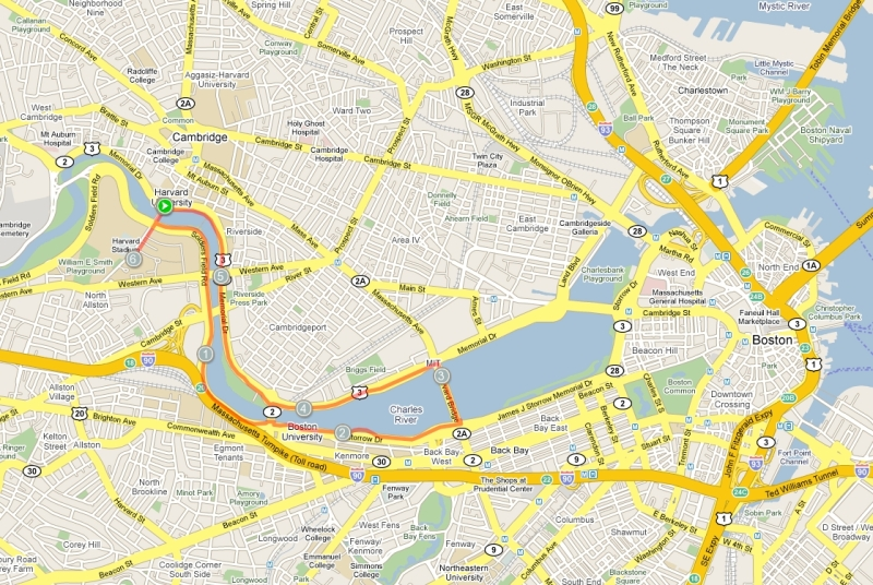 Charles River loop looks like a saxophone