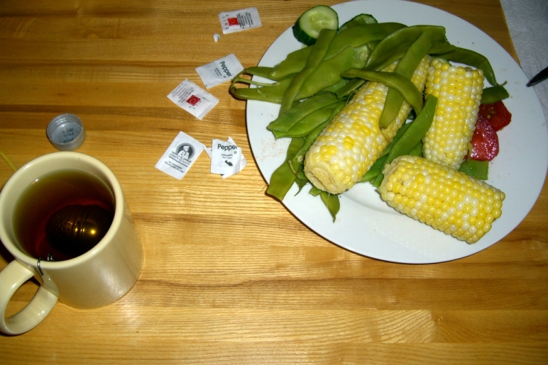 Vegetables and green tea