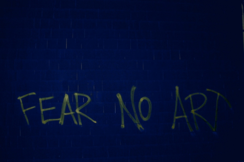 Fear No Art on the back wall of Ryles in Inman Square