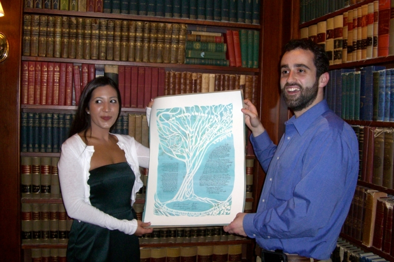 Eliot and Christina with the ketubah