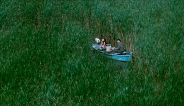 Rowboat amidst the isle grasses