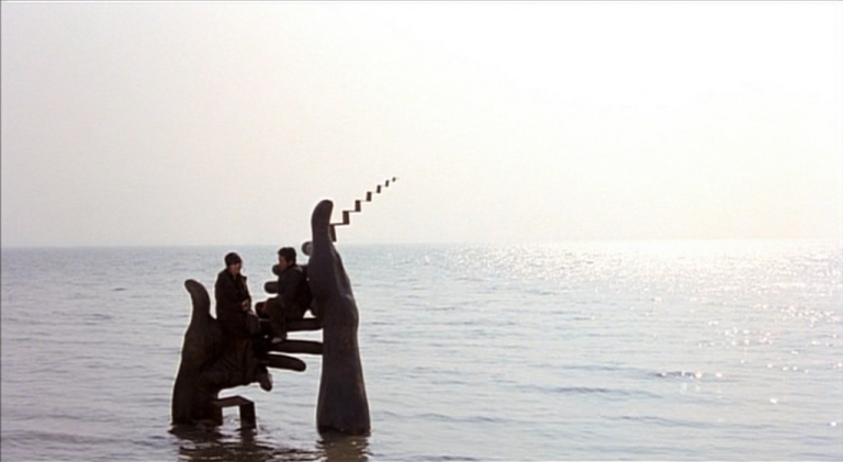 A sculpture garden at high tide