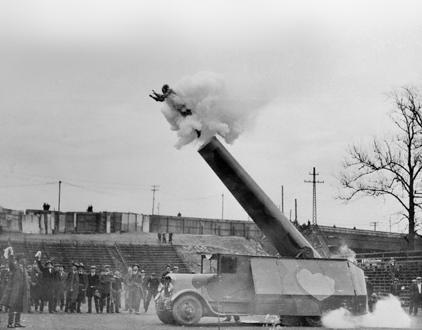 The first human cannonball