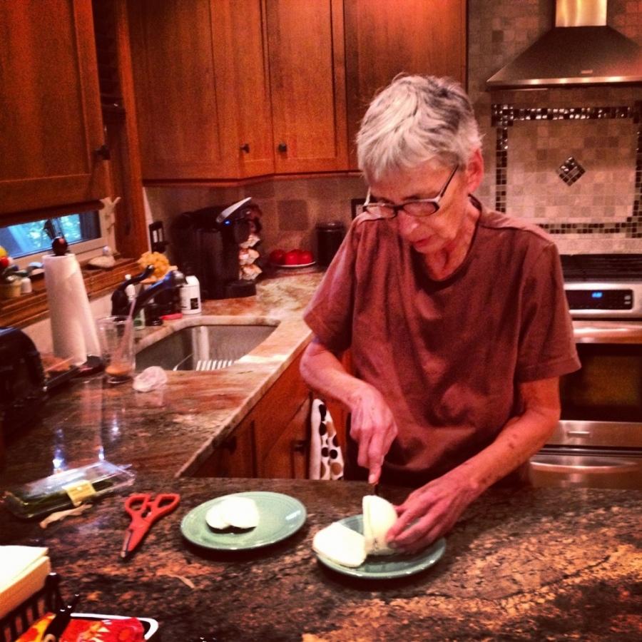 Aunty Judy cutting mozzarella 3rdarm