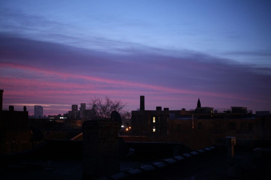 chicago illinois winter sunrise 3rdarm westtown red sky take warning