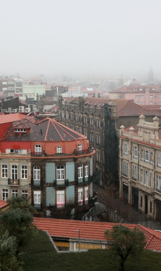 Clérigos church bell tower porto vista view skyline city streets winter hazy shade 3rdarm