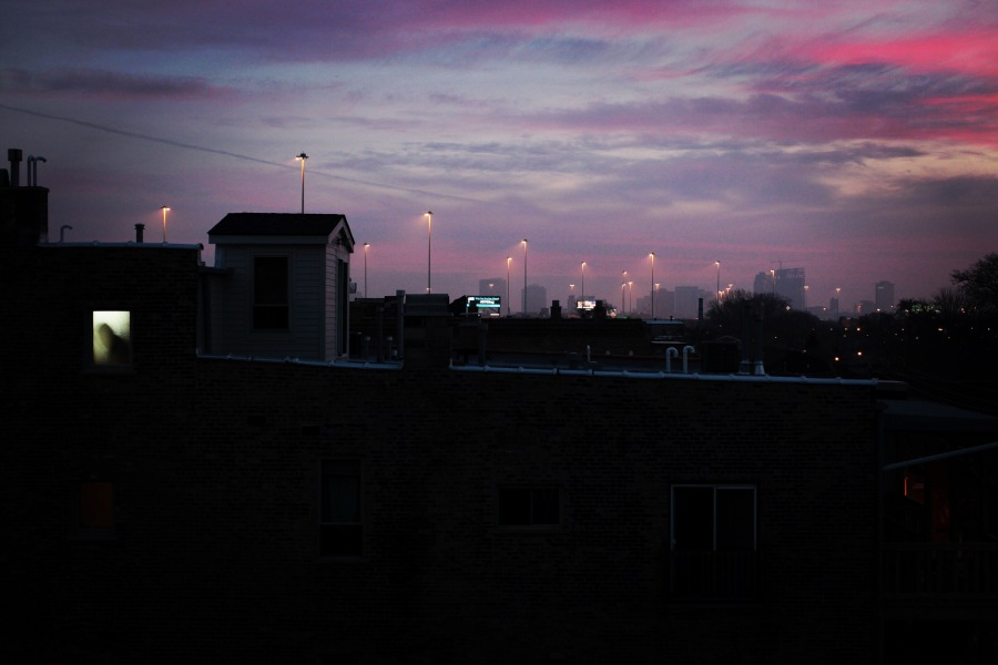 chicago south side sunset 3rdarm arthur mullen pink purple and grey february 2017 from bridgeport